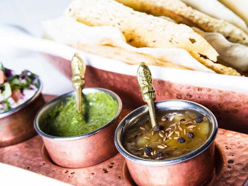 Poppadoms & Khakara with pickle & relishes