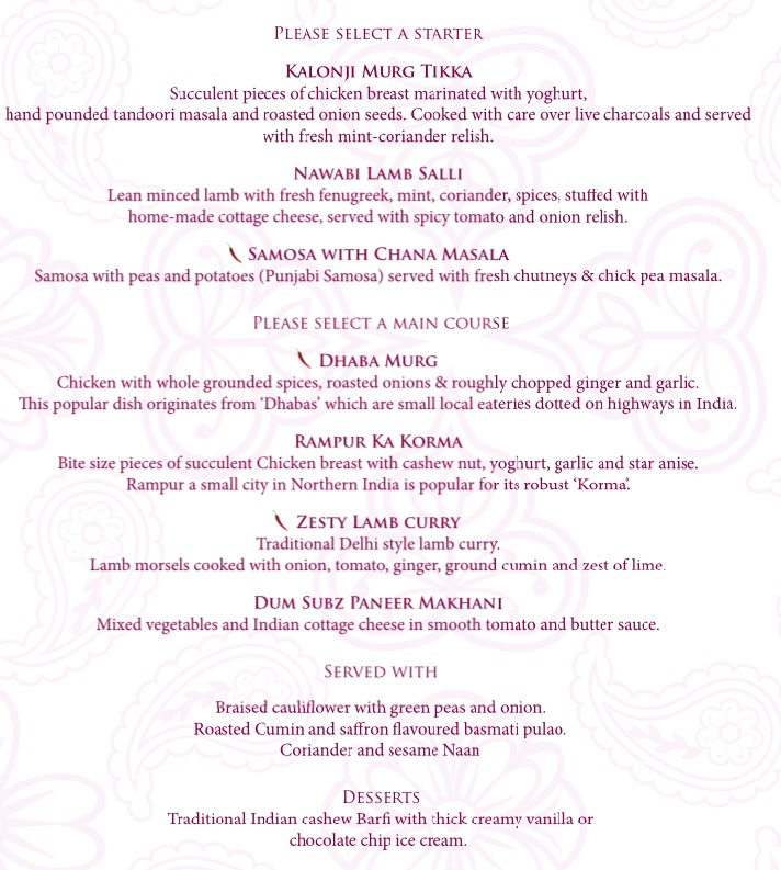 Mothers day 3 course lunch menu £25 pp